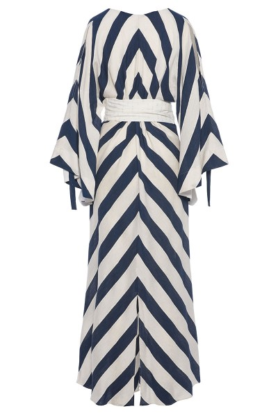 Maxi Caftan With Angel Sleeves And Rhomboid Accessory Belt