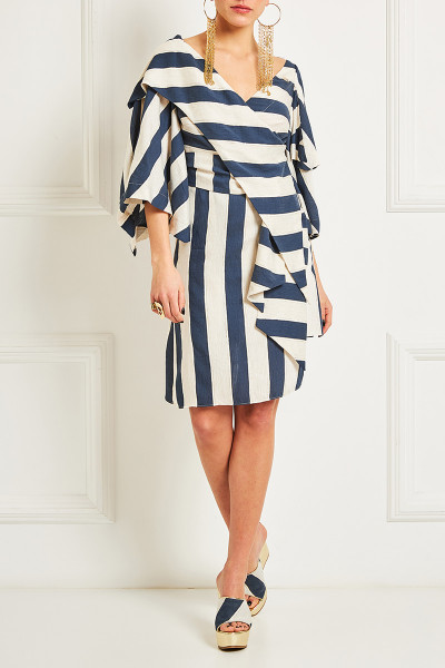 Asymmetric Wrap Dress With Oversized Lapel Cleavage And Impressive Sleeves