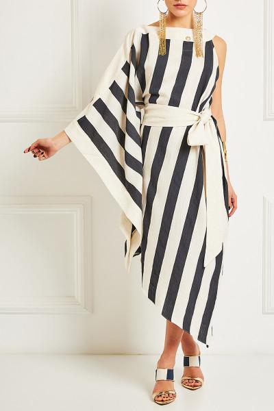 One Sleeve Cold Shoulder Asymmetric Dress