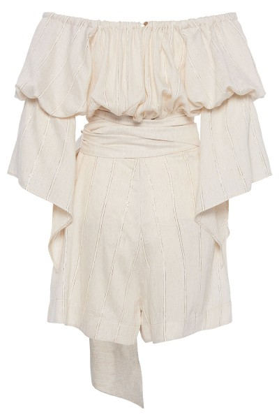 Off-The-Shoulder Short Jumpsuit With Vertical Ruffle Trim Puffed Sleeves