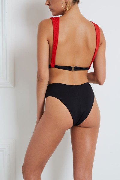 One-Piece Cut-Out Swimsuit With Plunging Neckline