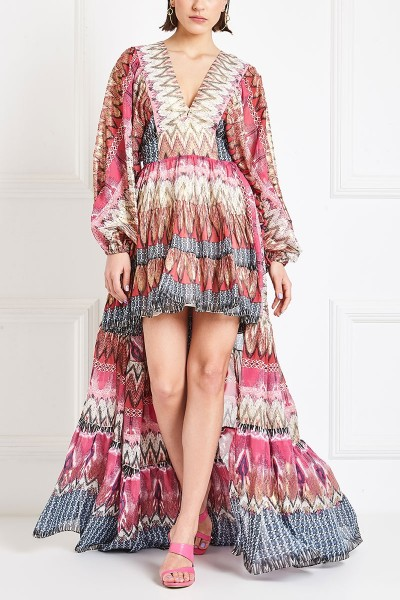 Long-Sleeved Printed Dress With High-Low Ruffled Hem And Plunging Neckline