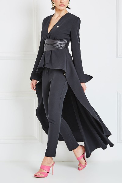 High-Rise Cigarette Pants With Asymmetric Leather Waist Band