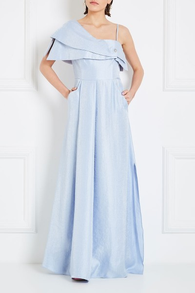One-Shoulder Empire Maxi Dress With Asymmetric Tiered Neckline
