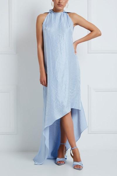 Halter-Neck Shift Dress With Asymmetric Hem And Shawl Detail