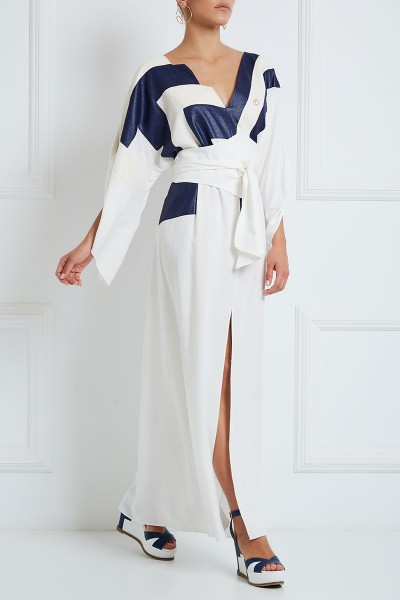 Linen-Embellished Cotton Caftan With Angel Sleeves And Inset Belts