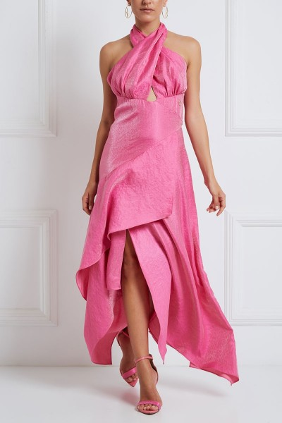 Crossover Halter-Neck Dress With Asymmetric Tiered Flounce Hem