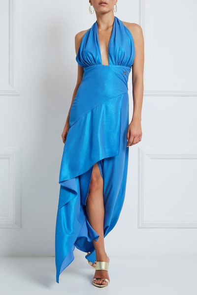 Crossover Halter-Neck Dress With Asymmetric-Hem Tiered Flounce Skirt
