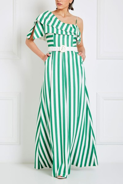 Empire Maxi Dress With Double-Lapel Sleeve And Box Pleat