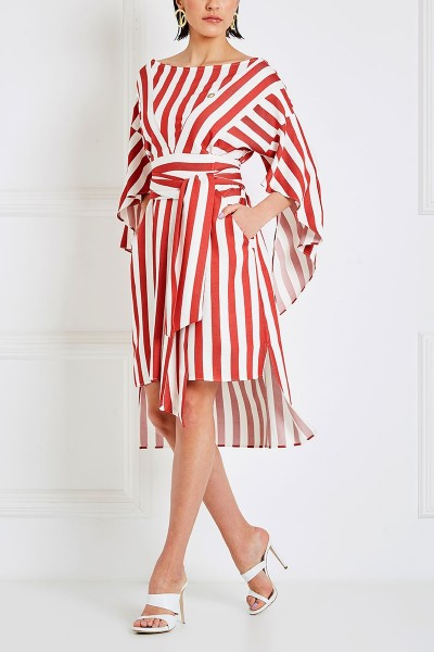 Asymmetric Midi Dress With Flare Ruffle Sleeves And Boat Neckline