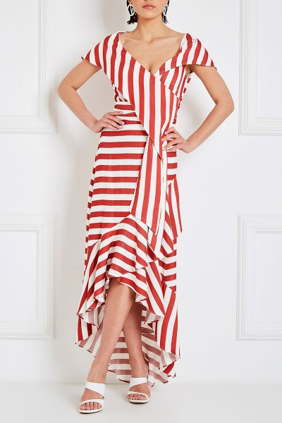 Asymmetric Wrap Dress With Oversized Lapel Cleavage And Ruffle Hem