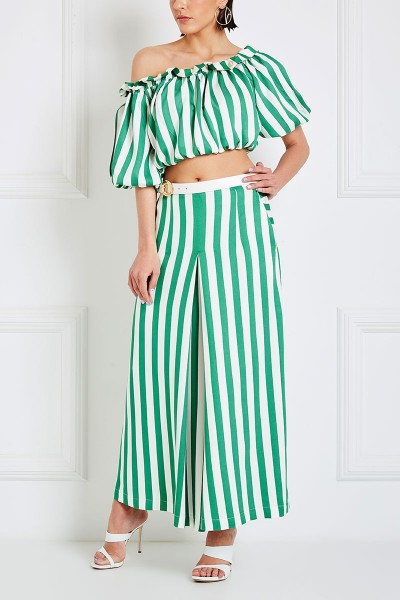 Off-The-Shoulder Crop Top With Frill Trim And Short Puffed Sleeves