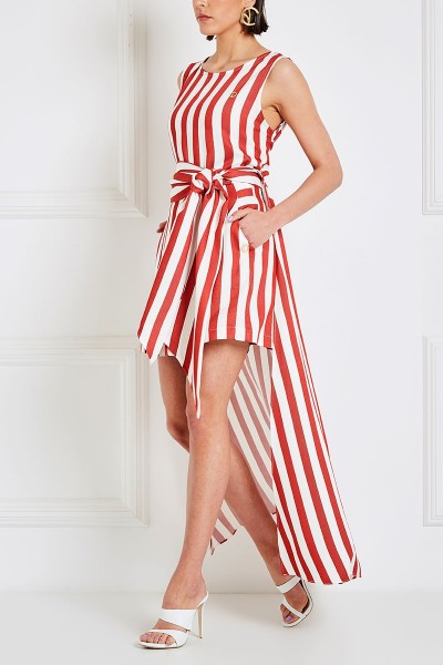 Tunic Crop Top With Long Cutout Back And Inset Belts