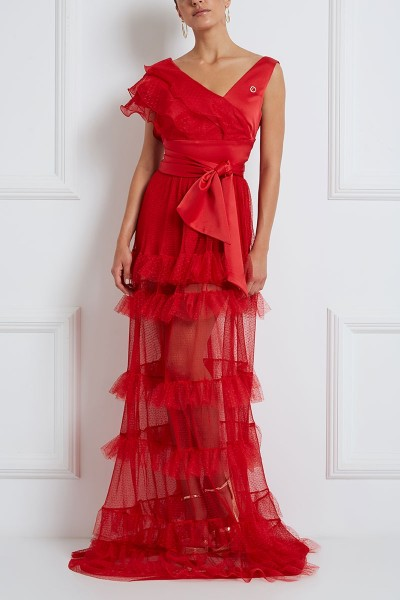 Maxi Polka-Dots Tulle Dress With Asymmetric V Neckline And Tiered Flounce Detailed Shoulder