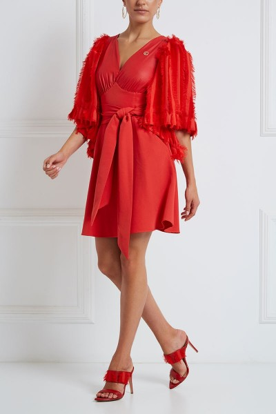 Mini Dress With Fringe-Striped Bell Sleeves And Notch Neckline