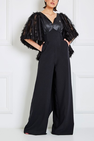 Wraparound Jumpsuit With Oversized Statement Bell Sleeves And Notch Neckline