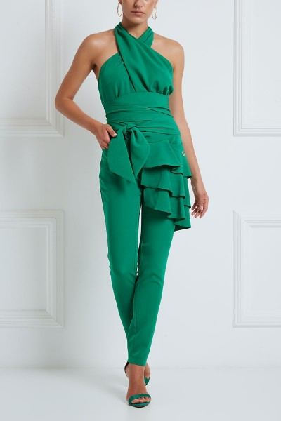 French-Fly Cigarette Pants With Layered Flounce Detail