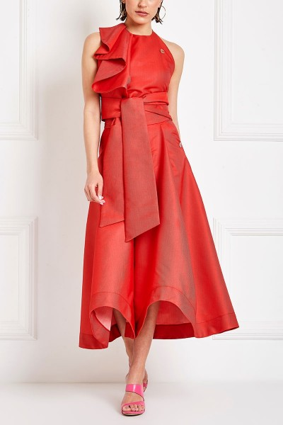 Asymmetric-Hem High-Rise Culottes With Box Pleat And Slash Pockets