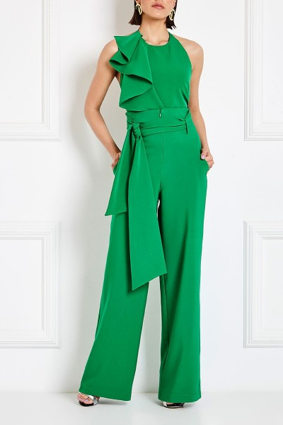 High-Rise Wide-Leg Pants With Triangular Pockets And Long Silver Lurex Belt