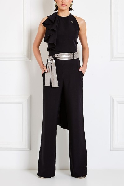 Halter-Neck Wraparound Crop Top With Ruffle Detail