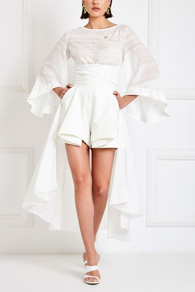 High-Rise Flared Shorts With Front Box Pleat And Slash Pockets