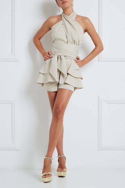 High-Rise Shorts In Stretch Fabric With Slit Pockets And Layered Flounce Front