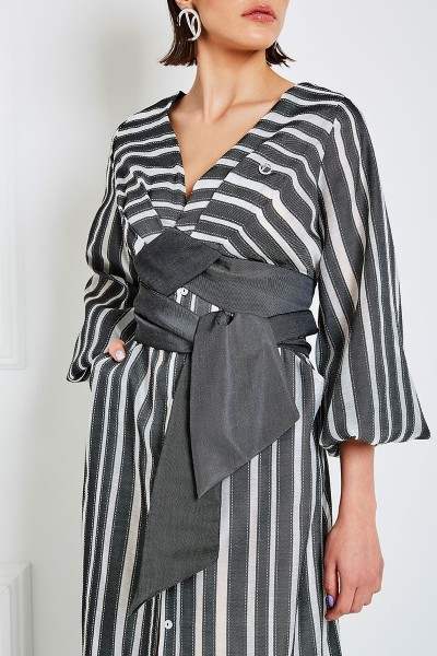 Wraparound Button-Down Maxi Shirtdress In Textured-Stripes Sheer Textile With Long Puffed Sleeves