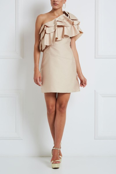 Fit-And-Flare Mini Dress With Chocker Collar And Tiered Flounce Bodice