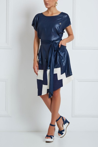 Asymmetric Midi Dress With Geometric Linen Trim