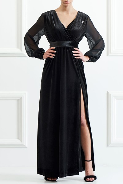Wrap-Bodice Maxi Velvet Dress
