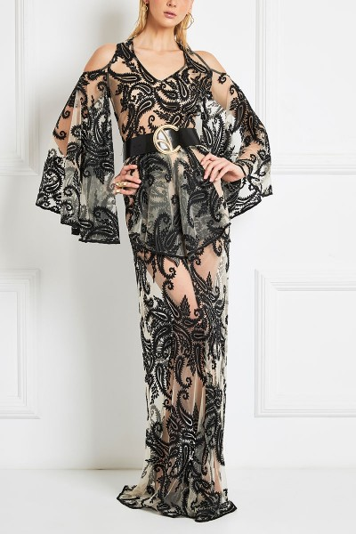 Paisley-Embroidered Sheer Column Dress