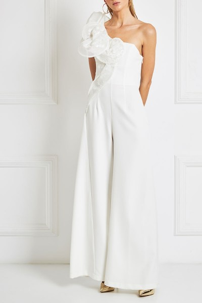 One-Shoulder Jumpsuit With 3D Spiral-Geometry Bodice