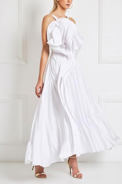 Ruffled Satin Midi Dress With 3D Bodice