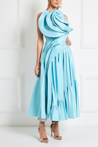 Ruffled Satin Duchess Midi Dress With 3D Bodice
