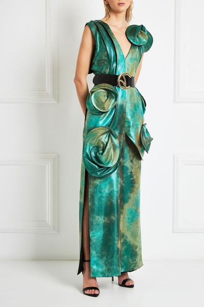 Degraded Iridescent Maxi Column Dress With Plunging Neckline