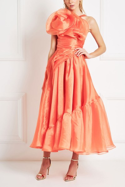Ruffled Organza Midi Dress With Spiral Motif Neckline