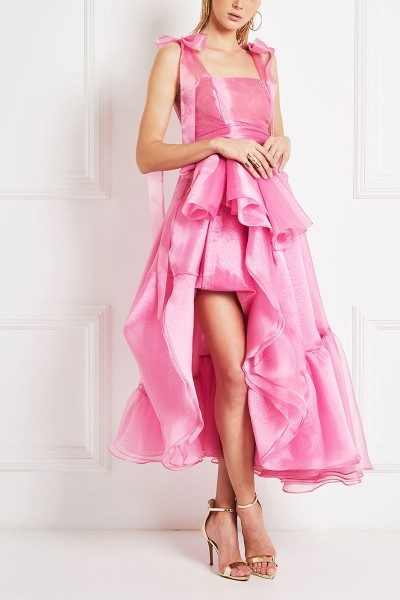 Organza Bustier Dress With Blossom Details And Ruffled Slit Skirt