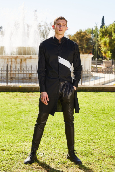 Faux Leather Pleated Tapered Pants