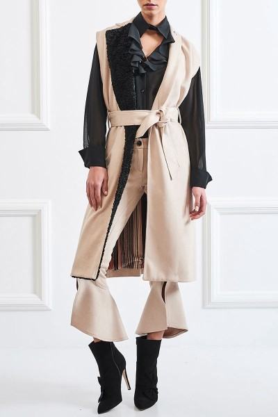 Cropped Suede Pants with Unique Finish on the Knee
