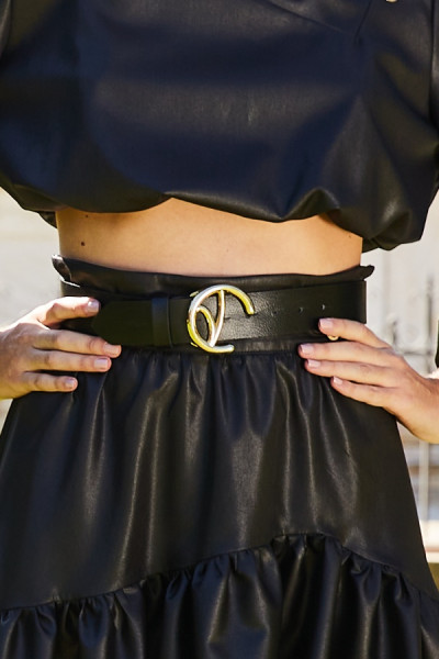 Leather Belt With Small Gold Monogram Buckle