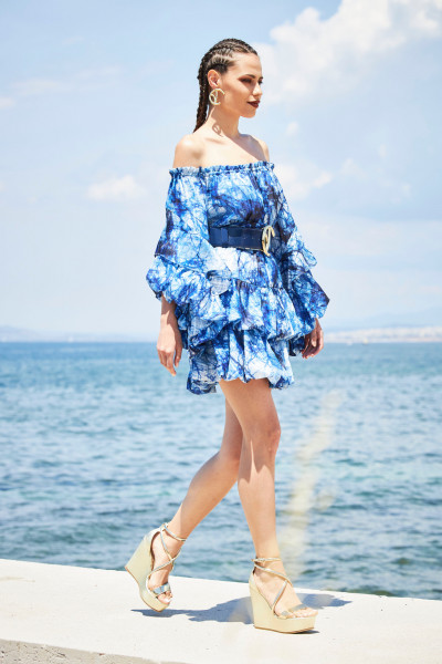 Off-The-Shoulder Short Dress With Balloon Sleeves And Cascading Puffy Skirt