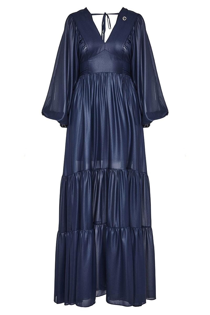 dd4f29299d Long-Sleeved Maxi Gypsy Dress With Ruffle-Trim Full Hem And Plunging  Neckline