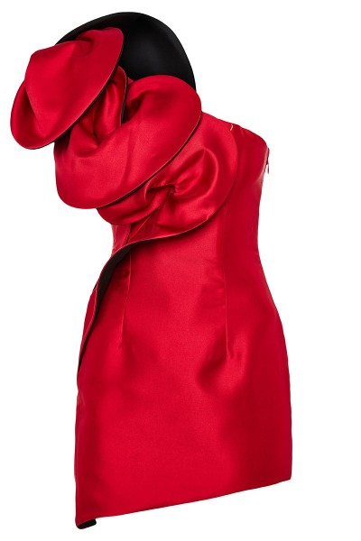 Κοντό Ασύμμετρο Φόρεμα Με Τρισδιάστατα Μοτίβα Στο Ντεκολτέ