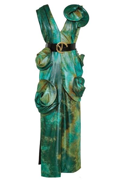 Μακρύ Ίσιο Φόρεμα Σε Ιριδίζουσα Ντεγκραντέ Ύφανση Με Ντεκολτέ