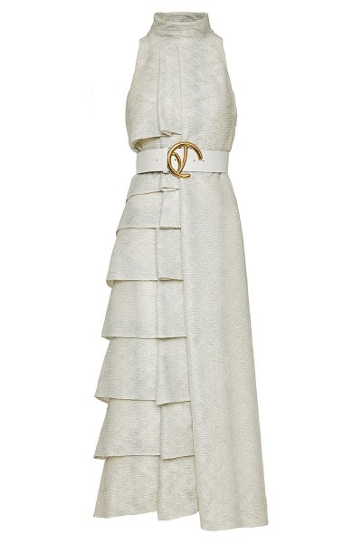 Ασύμμετρο Μακρύ Φόρεμα Με Βολάν Και Ψηλή Λαιμόκοψη Σε Ιριδίζον Κρέπ