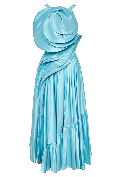 Σατέν Ντουσέζ Φόρεμα Με Βολάν Και Τρισδιάστατο Μπούστο