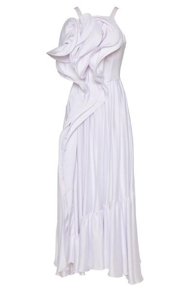 Σατέν Φόρεμα Με Βολάν Και Τρισδιάστατο Μπούστο