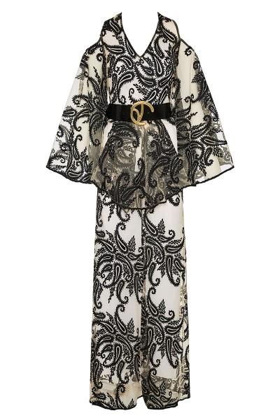 Μακρύ Φόρεμα Απλικέ Με Ακάλυπτους Ώμους Και Ντραπέ Μανίκια