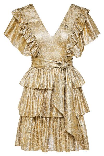 Κοντό Φόρεμα Δαντέλα Με Βολάν