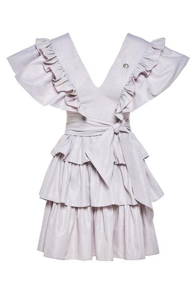 Κοντό Φόρεμα Εβαζέ Με Βολάν